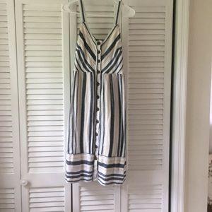Stripe universal thread button down dress